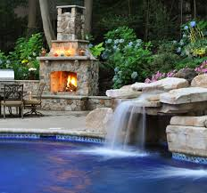 pool and outdoor kitchen combination