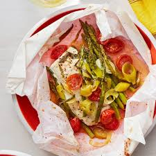 Fish in Parchment with Asparagus ...