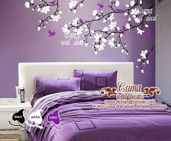 Cherry Blossom Wall Decals Violet Nursery White Flowers Vinyl Wall Decal Tree Birds Wall Sticker Kids Purple Living Room Tree Wall Decal Vinyl Tree Wall Decal