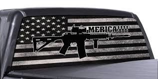 Fgd Brand Ar 15 American Flag Truck Rear Window Wrap Perforated Vinyl Decal Family Graphix Llc