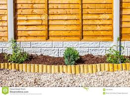 New Landscaped Wood Chip Garden Border Stock Photo Image Of Chipping Fencing 43576940