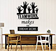 Cool Vinyl Decal Wall Sticker Office Quote Teamwork Makes The Dreamwor Wallstickers4you