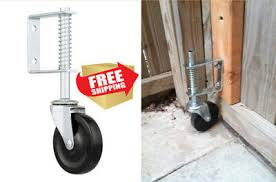 4 Inch Spring Loaded Gate Caster Rubber Wheel 125 Lb Wood Or Chain Link Fences Casters Wheels Material Handling Casters Business Industrial
