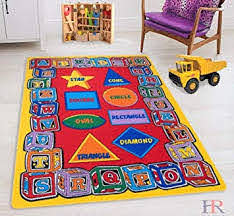 Amazon Com Hr Kids Rugs For Playroom Bedroom 5x7 Boys Girls Children S Room Decor Fun Abc Alphabet Shapes Interactive Gift For Kids Boys Girls Educational Learning Mat Rug Carpet For Nursery School Playroom Furniture