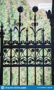 Wrought Iron Fence Gate Stock Image Image Of Vertical 131195595