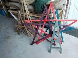 handmade wooden five point stars using