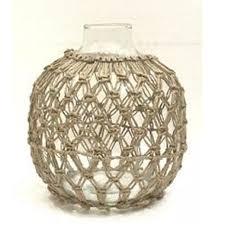 dev glass vase w rope detail large