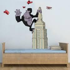 King Kong Cartoon Wall Sticker King Kong On Skyscraper Cartoon Wall Decal Boys Removable Wall Stickers Art Fever