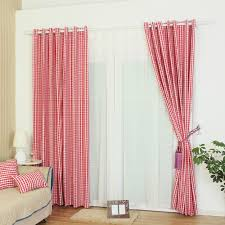 Polyester Classic Red Plaid Curtain For Kids Room Or Nursery