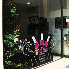 Nail Salon Art Vinyl Wall Decal Sexy Girl Hands Nail Polish Mural Wall Sticker Nail Shop Window Glass Sticker Decoration Sticker Decoration Window Glass Stickersvinyl Wall Decals Aliexpress