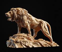 Lion Sculpture 3d print model PBR ...