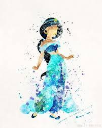 print aladdin watercolor jasmine disney