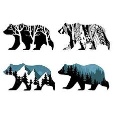 Mlm Snow Mountain Forest Silhouette Bear Silhouette Animal Wall Decals Wall Stickers Animals