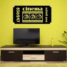 Ticket Cinema Vinyl Wall Decal Movie Cinematography Room Film Wall Stickers Gaming Room Home Decoration For Living Room W155 Wall Stickers Aliexpress