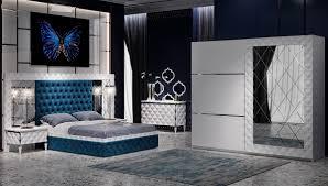 غرفة نوم مودرن باللون الكحلي و الابيض ديكور ابداع Decor Epda3