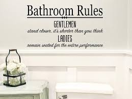 Amazon Com Story Of Home Llc Bathroom Rules Gentleman Stand Closer It S Shorter Than You Think Ladies Remain Seated For The Entire Performance Bathroom Wall Decal Bathroom Vinyl Wall Decal Funny Bathroom Decal
