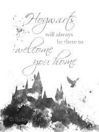 art print hogwarts quote harry potter illustration x black