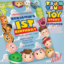 Tsum Tsum Toy Story Birthday Invitation Digital File Temas Para