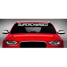 Amazon Com Noizy Graphics 40 X 4 Supercharged Muscle Car Windshield Sticker Truck Window Vinyl Decal Color White Automotive