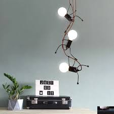 Led People Lamp Mini Small Chandelier Led E27 Lamp Small Iron Man Swinging Hanging Chandelier Kids Room Chandelier Lighting Chandeliers Aliexpress