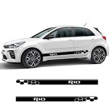 2 Sides Car Graphics Vinyl Side Stripes Auto Sticker Decals Car Styling For Kia Rio Car Styling Car Stickers Aliexpress