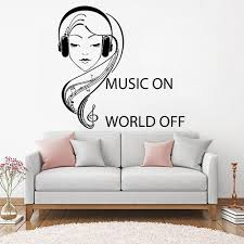 Music Headphones Teenagers Girl Wall Decal Quotes Music On World Off Vinyl Wall Decals Family Room Decoration Art Mural Decals For Home Walls Decals For The Home From Joystickers 12 66 Dhgate Com