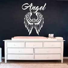 Angel Wings Wall Stickers Name Decals Vinyl Decal Home Decor For Nursery Bedroom Angel Wings Wall Wall Stickers Home Decor