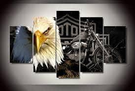 Harley Davidson And Bald Eagle Wall Art Set