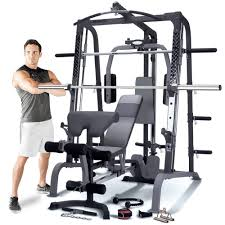 Marcy Smith Cage Machine with Workout Bench and Weight Bar Home Gym  Equipment Sports & Outdoors Power Cages Exercise & Fitness