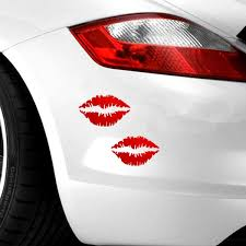 2pcs Kiss Mark Lips Car Decal Sticker Sexy Hot Pink Vinyl Best Window Bumper Decor Wish