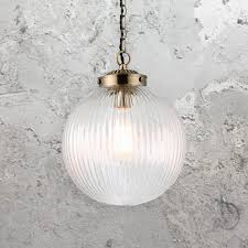 ribbed round glass pendant light cl