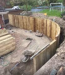 curved new railway sleeper wall