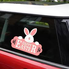 New Removable Reusable Sticker For Car Happy Easter Bunny With Nameplate Car Stickers And Decals Car Styling Window Creative Color Name Size 1pcs Amazon Com