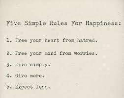 five simple rules for happiness inspirational quotes
