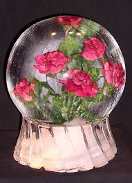 crystal glass globes with flowers