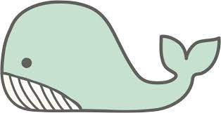 Simple Cute Mint Green Whale Cartoon Drawing Vinyl Decal Sticker Shinobi Stickers