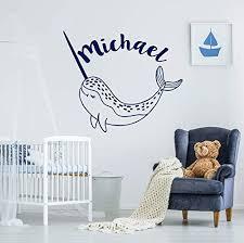 Amazon Com Narwhal Whale Wall Decal Boys Name Wall Sticker Sea Animals Vinyl Stickers Boys Name Nautical Decor Nursery Bedroom C741 Handmade