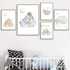 Cute Baby Animal Canvas Poster Nursery Wall Art Print Kids Bedroom Decoration Ebay