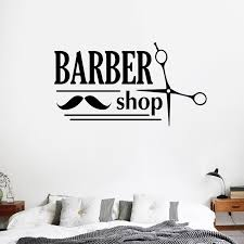 Home Decor Gentlemans Barber Shop Haircuts Shave Window Sticker Hair Salon Hairdressers Vinyl Decal Handmade Products Home Decor Decorative Accessories