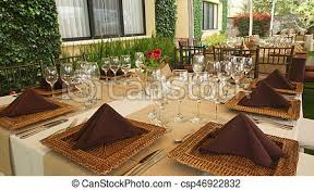tables decorated and arranged for a