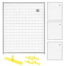 Perimeter Patrol 6 Ft X 20 Ft 4 Panel Silver Powder Coated Steel Welded Wire Temporary Fencing Rf 0505 Wwg The Home Depot