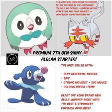 Best Shiny Alolan Starters 7th Gen Pokemon Sun & Moon Nintendo ...