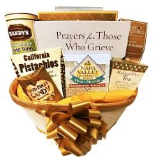 sympathy gift basket with book on grief