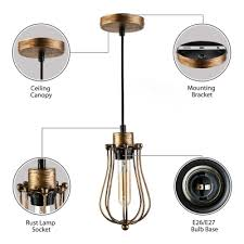 copper 1 light wire guard pendant lamp