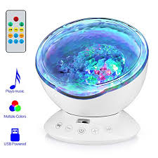 Ocean Wave Projector 12led Black New Nursery Living Room And Bedroom Music Player Timer Night Light