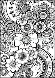 Beautiful henna flowers and paisleys - colouring in sheet instant ...