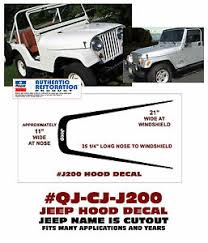 Qj J200 Jeep U Shaped Jeep Name Hood Decal Cj5 Cj7 Flat Hood Only Ebay