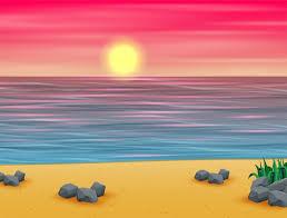 Atardecer de verano rosa en playa tropical | Vector Premium