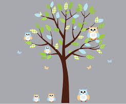 Amazon Com Green And Blue Owl Wall Decal Boy Owl Stickers With Tree Fabric Tree Baby