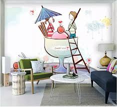 3d Photo Wallpaper Custom Living Room Mural Ice Cream Love Cup Painting Kids Room Picture 3d Wall Mural Wallpaper For Walls 3d Mural Wallpaper For Walls Wallpaper For Walls 3d3d Wall Murals Wallpaper